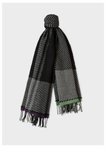 Men's Grey And Black Asymmetrical Check Wool Scarf