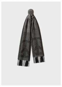 Men's Dark Grey and Black Cashmere 'Peace' Scarf