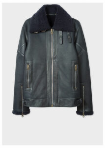 Men's Navy Shearling Flight Jacket