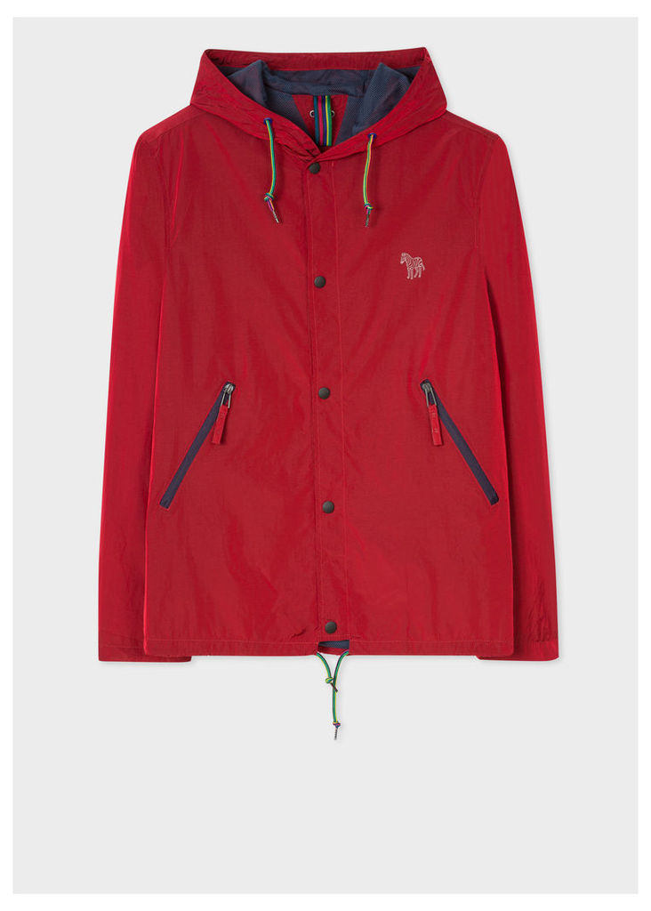 Men's Red Showerproof Hooded Coach Jacket With Zebra Logo