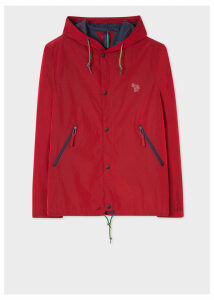Men's Red Showerproof Hooded Coach Jacket With Zebra Logo