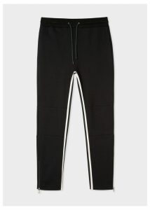 Men's Black Cotton-Viscose Panelled Stripe Sweatpants