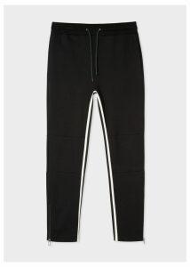 Men's Black Cotton-Viscose Panelled Stripe Sweatpants