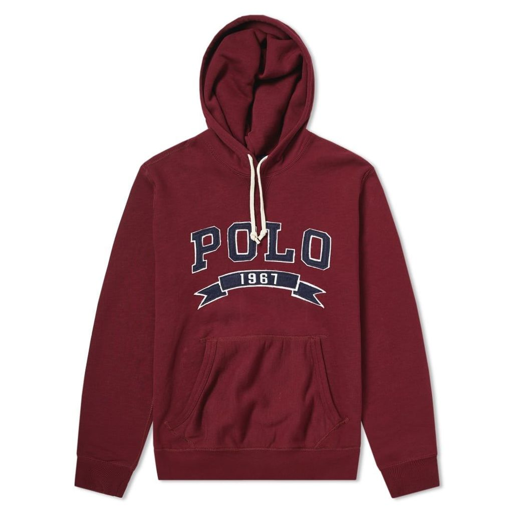 Polo Ralph Lauren Varsity Applique Logo Popover Hoody Classic Wine
