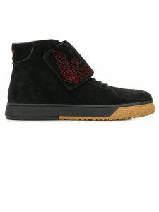 Emporio Armani logo embroidered ankle boots - Black