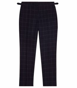Reiss Sensation - Windowpane Check Trousers in Navy, Mens, Size 38