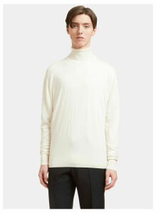 Aiezen AIEZEN Men's Cashmere and Silk Roll Neck Sweater in Milk size XXL