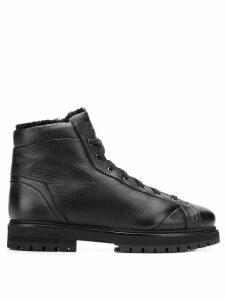Santoni lined lace-up ankle boots - Black