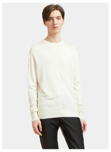 Aiezen AIEZEN Men's Cashmere and Silk Soft Knit Sweater in Milk size XXL