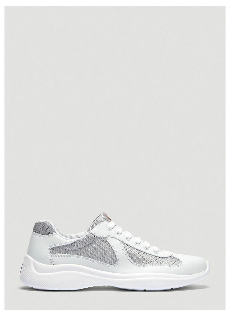 Prada Americas Cup Lace-Up Sneakers in White size UK - 10
