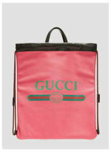 Gucci Logo Drawstring Leather Backpack in Pink size One Size