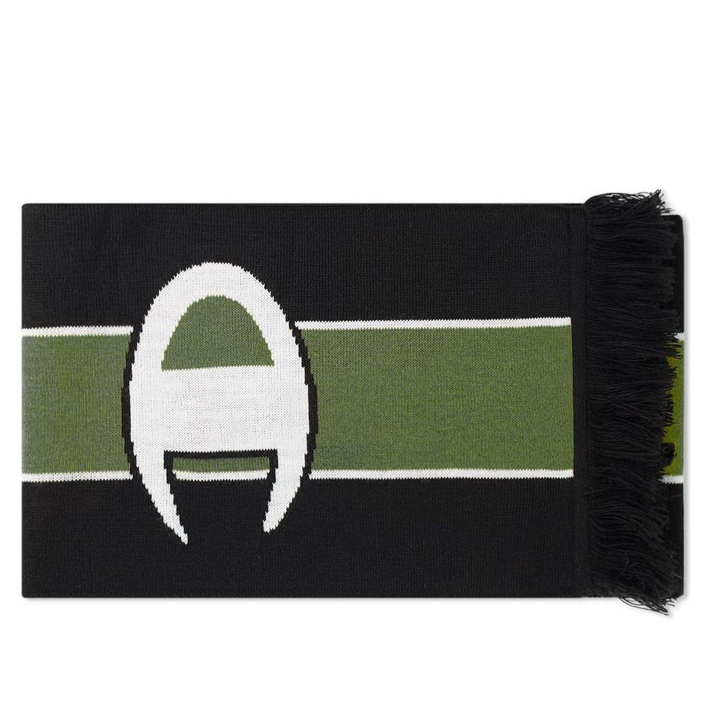 Champion Reverse Weave Logo Football Scarf Black & Bottle Green