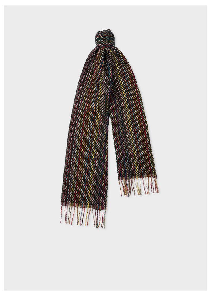 Men's Basket Weave Signature Stripe Cashmere Scarf
