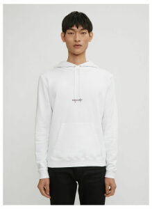 Saint Laurent Logo Print Hooded Sweater in White size S