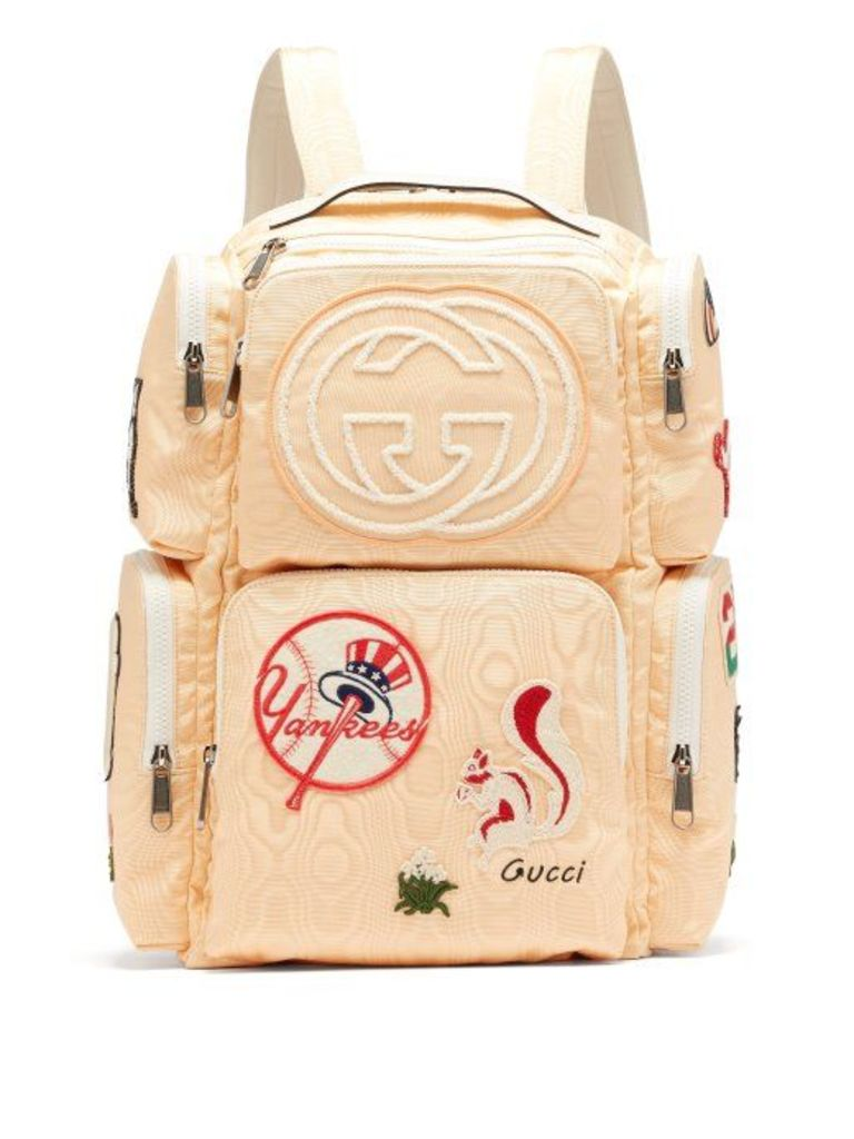 Gucci - Patch Embellished Leather Trimmed Canvas Backpack - Mens - Light Yellow