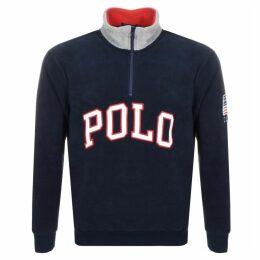 Ralph Lauren Half Zip Logo Fleece Sweatshirt Navy