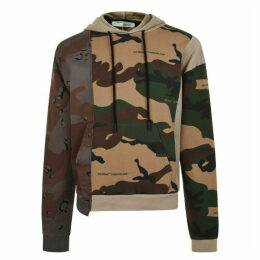 Off White Panelled Camouflage Hooded Sweatshirt