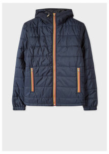 Men's Navy Quilted Hooded Jacket With 'Artist Stripe' Trims