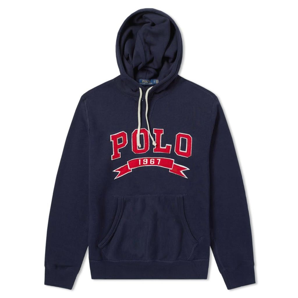 Polo Ralph Lauren Varsity Applique Logo Popover Hoody Cruise Navy