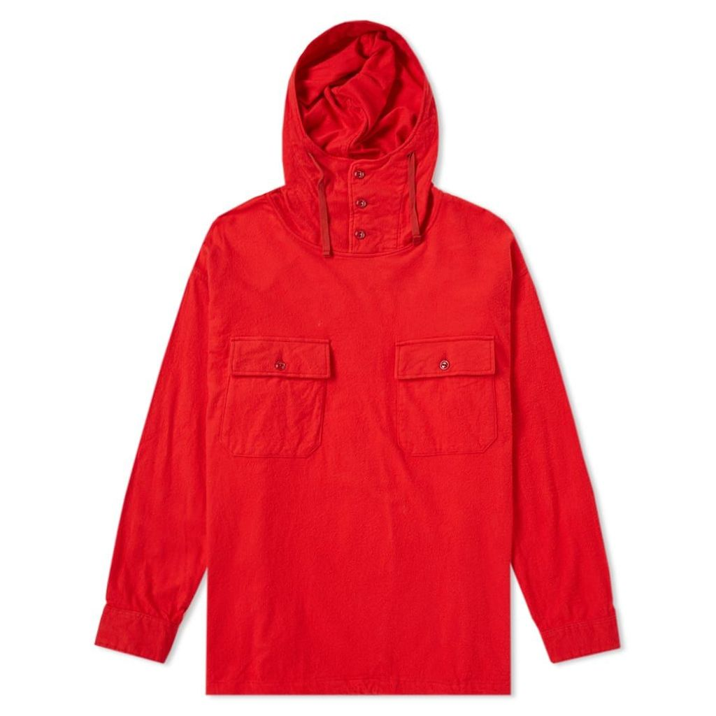 Engineered Garments Cagoule Shirt Jacket Red Cotton Flannel