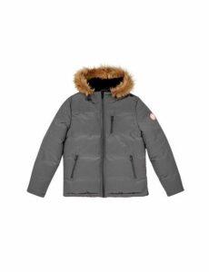 Mens Grey Birch Faux Fur Hooded Padded Jacket, Grey
