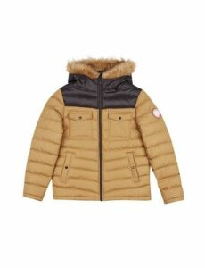 Mens Tan Two Tone Lightweight Hooded Padded Jacket, TAN