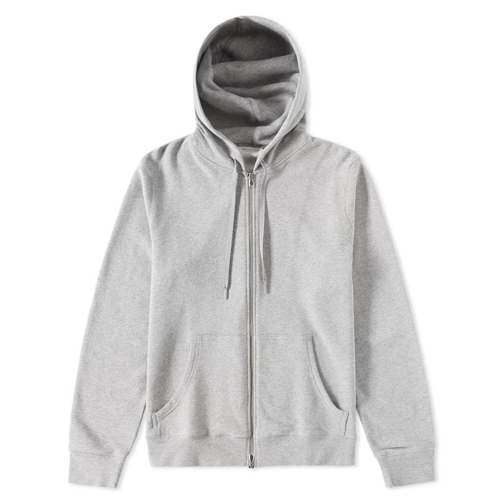 Sunspel Loopback Zip Hoody Soft Grey Melange