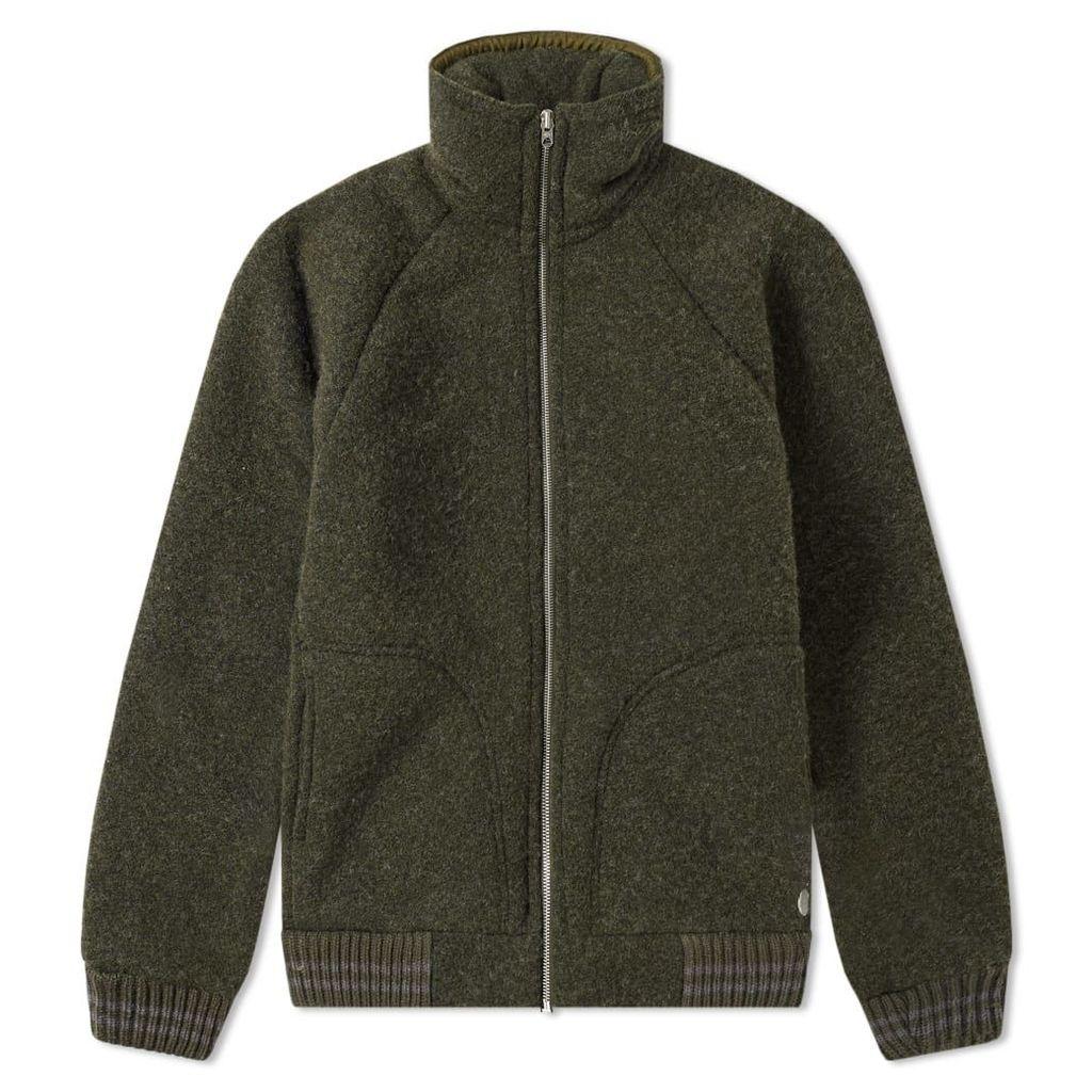 Nigel Cabourn x Peak Performance Wool Fleece Zip Jacket Base Camp Green