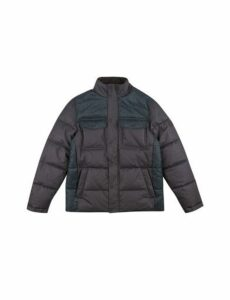 Mens Navy Textured Colourblock Funnel Neck Puffer Jacket, INDIGO