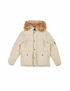 Mens Ecru Padded Jacket With Fur Hood, ECRU