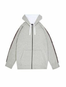 Mens Big & Tall Grey Marl Zip Through Hoodie With Ninety Eight Tape, Grey