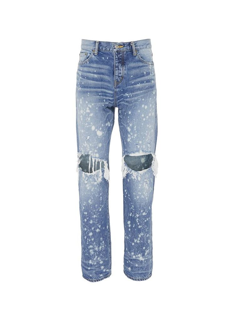 Paint splatter ripped jeans