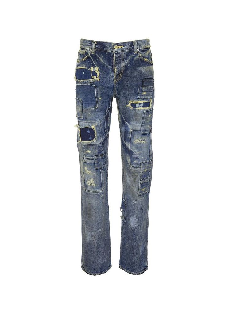 Rip-and-repair straight leg jeans