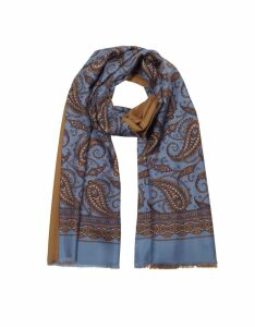 Forzieri Designer Men's Scarves, Modal & Silk Oversized Paisley Print Men's Fringed Scarf