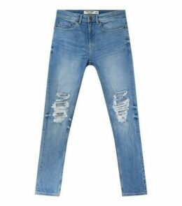 Pale Blue Ripped Knee Stretch Super Skinny Jeans New Look