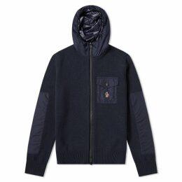 Moncler Grenoble Hooded Knit Jacket Navy