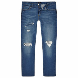 Mens River Island Mid Blue Dylan slim stretch ripped jeans