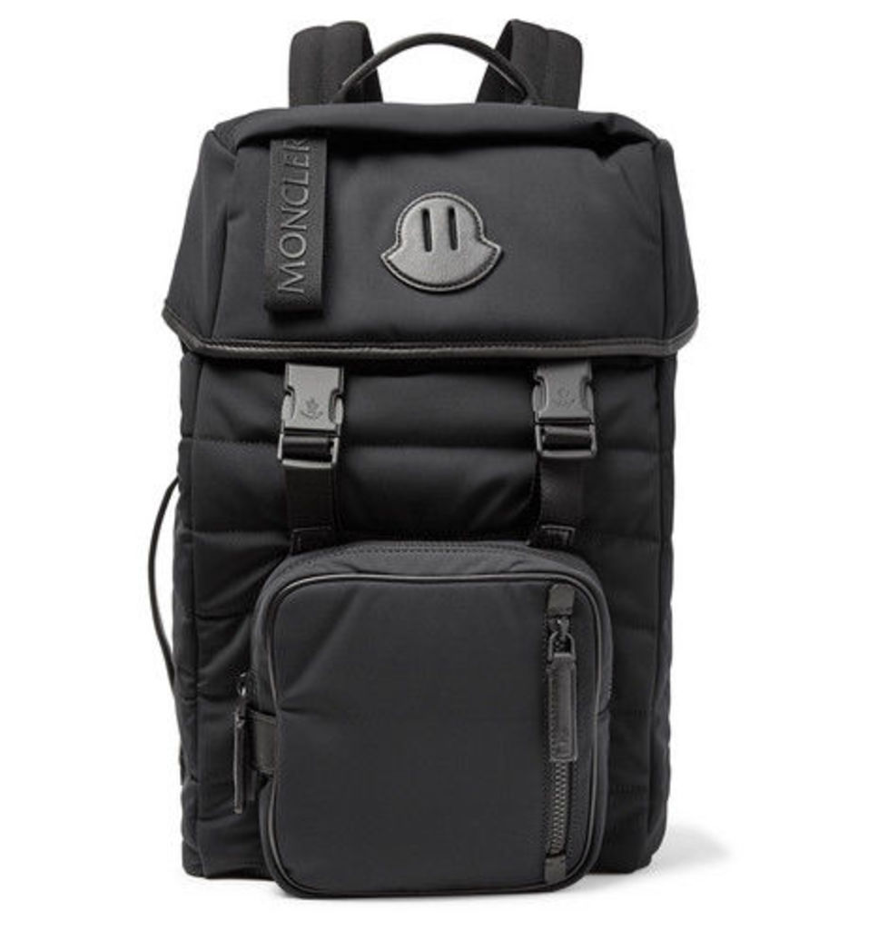 Moncler - Logo-webbing And Leather-trimmed Quilted Nylon Backpack - Black