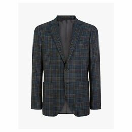 Jaeger Wool Multi Check Jacket, Navy