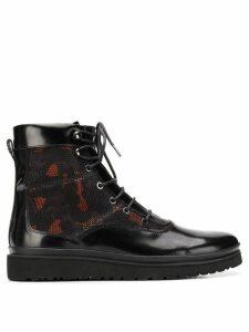 Emporio Armani camouflage panel combat boots - Black