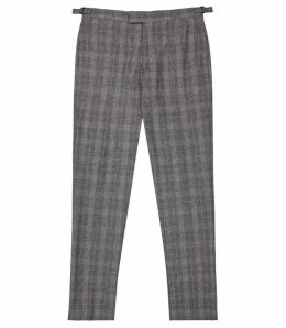 Reiss Rodney - Slim Fit Checked Trousers in Soft Grey, Mens, Size 38