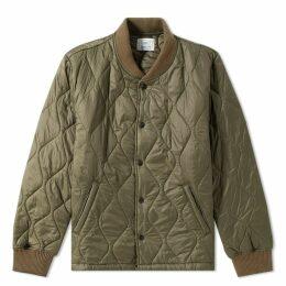 Save Khaki Quilted Nylon Warm Up Bomber Jacket Olive