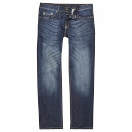 Mens River Island Dark Blue straight leg jeans