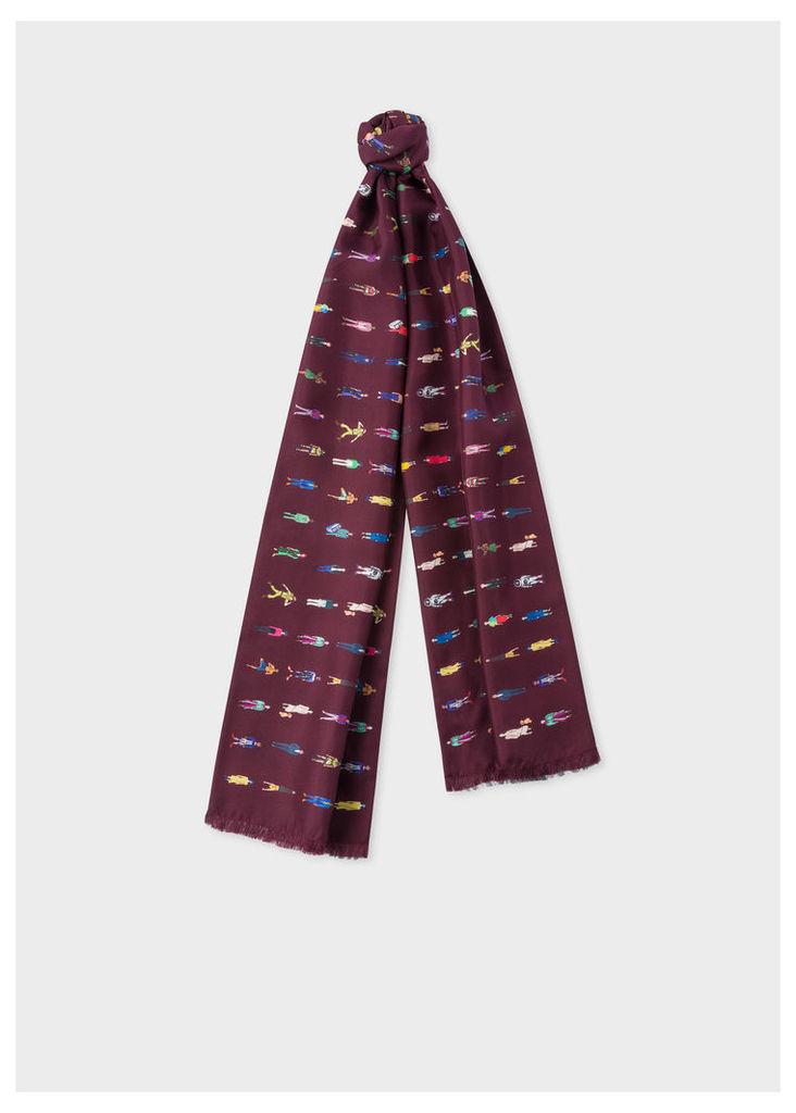 Men's Burgundy 'People' Print Wool And Silk-Blend Scarf
