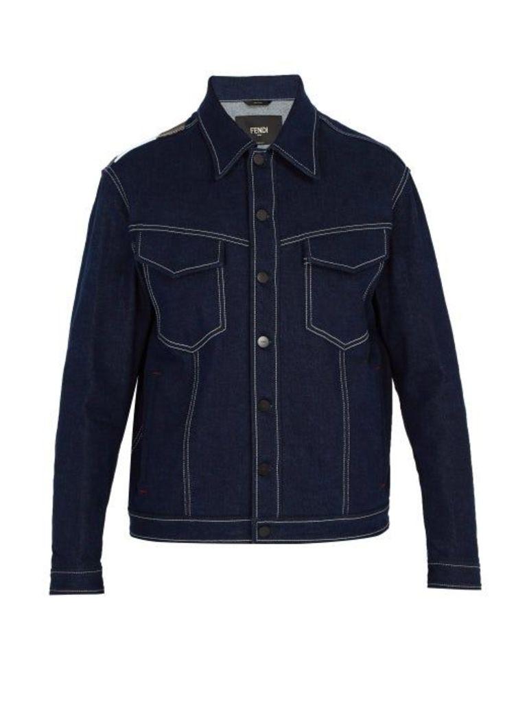 Fendi - Mania Logo Print Denim Jacket - Mens - Denim