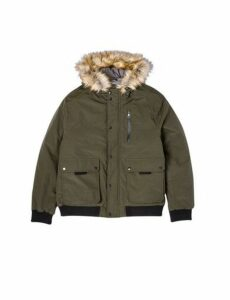 Mens Big & Tall Khaki Acorn Hooded Bomber Jacket, green