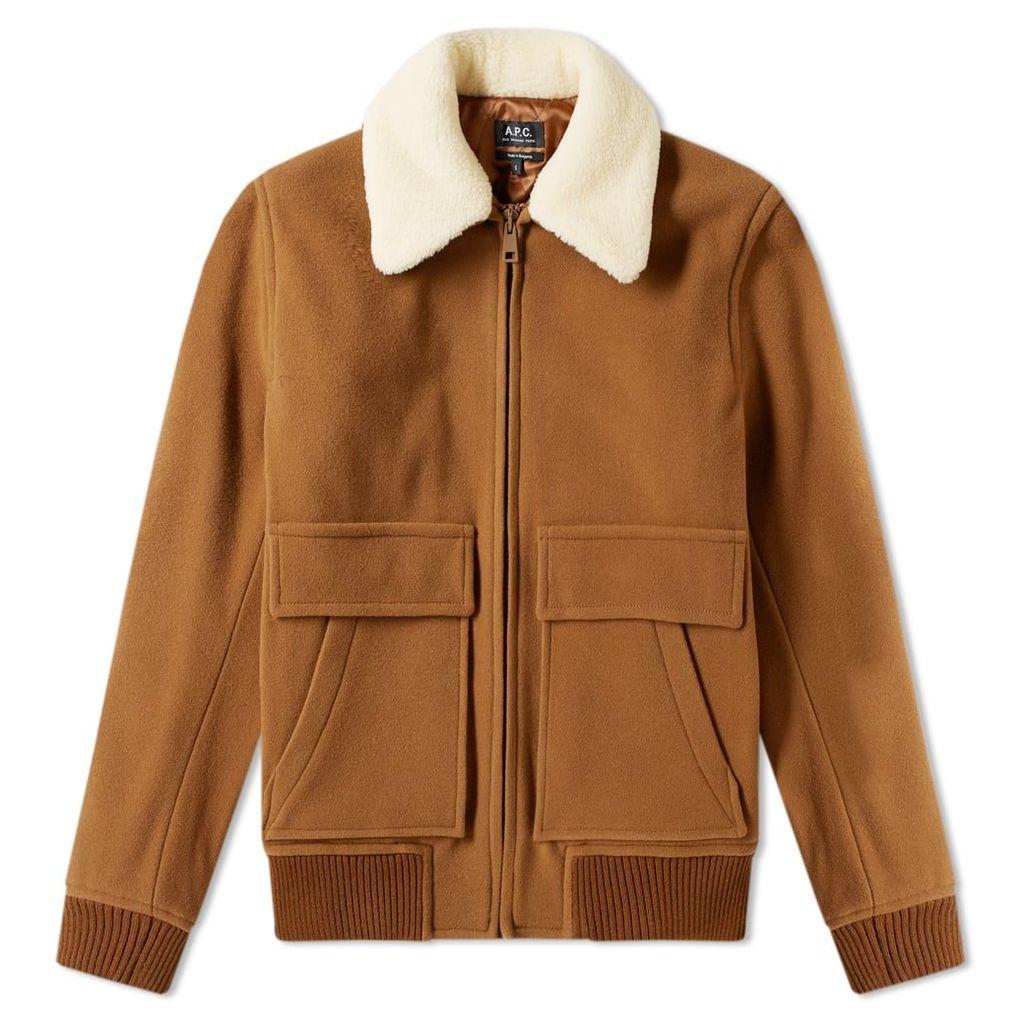 A.P.C. Bronze Shearling Wool Jacket Light Brown