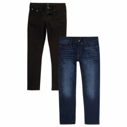 Mens River Island Black and blue Dylan slim fit jeans 2 pack