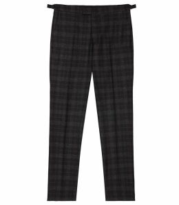 Reiss Rodney - Slim Fit Checked Trousers in Charcoal, Mens, Size 38