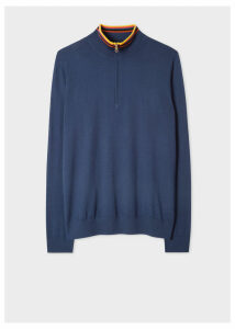 Men's Slate Blue Funnel Neck Merino Wool Half-Zip Sweater With 'Artist Stripe' Collar